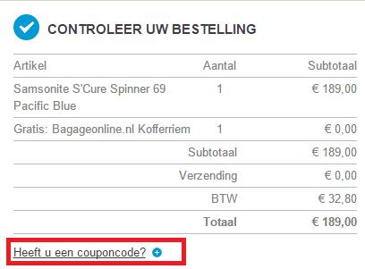 Bagageonline kortingscode veld