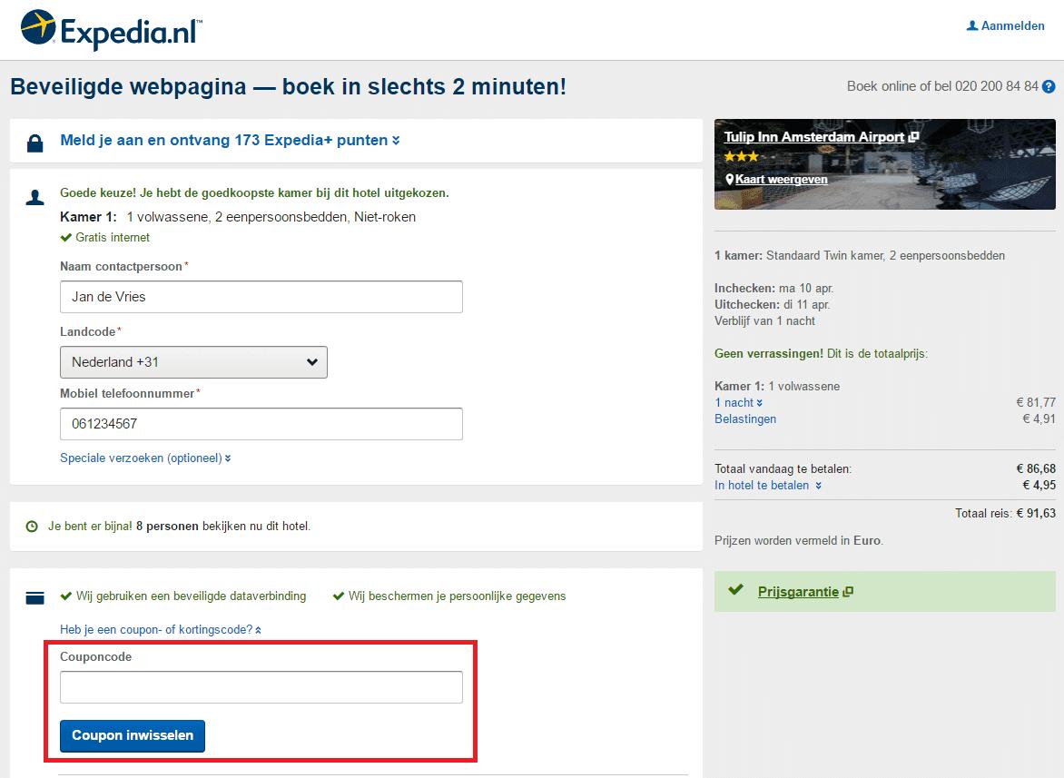 Expedia kortingscode veld