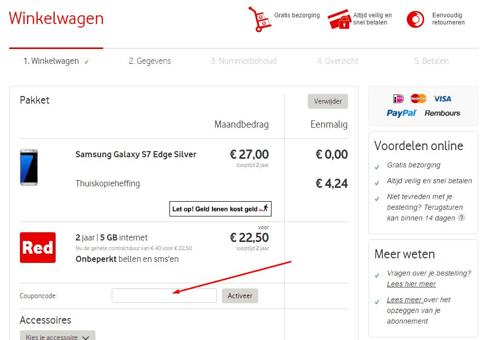 Vodafone kortingscode veld